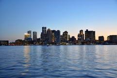 Boston Skyline at sunset. Boston City Skyscrapers, Custom House and Boston Waterfront at sunset, Massachusetts, USA stock photos