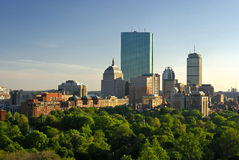 Boston skyline at sunset. Sunset in boston massachusetts on a lush spring evening, showing boston common and the back bay of copley square Stock Image
