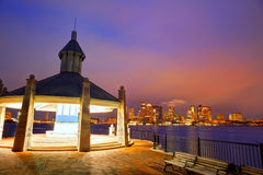 Boston skyline at sunset Piers Park Massachusetts Stock Photo