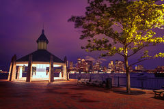 Boston skyline at sunset Piers Park Massachusetts Stock Images