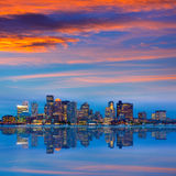 Boston skyline at sunset and river in Massachusetts. Boston skyline at sunset and river reflection in Massachusetts USA royalty free stock photo