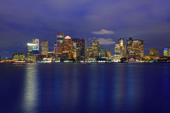 Boston skyline at sunset and river in Massachusetts Royalty Free Stock Image