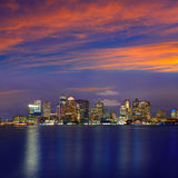 Boston skyline at sunset and river in Massachusetts Stock Images