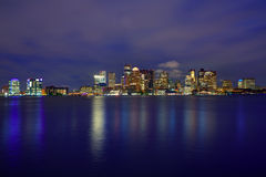 Boston skyline at sunset and river in Massachusetts Royalty Free Stock Photos