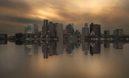 Boston skyline symmetry Royalty Free Stock Images