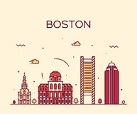 Boston skyline trendy vector illustration linear Royalty Free Stock Photo