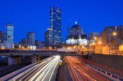 Boston Skyline from Turnpike Royalty Free Stock Photography