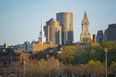 Boston-Skyline und Ufergegend, Massachusetts, USA Lizenzfreies Stockbild
