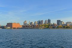Boston-Skyline und Ufergegend, Massachusetts, USA Stockfotografie