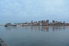 Boston-Skyline und Ufergegend, Massachusetts, USA Lizenzfreie Stockbilder