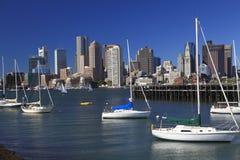 Boston skyline, USA. Boston skyline and Atlantic Ocean on foreground, USA royalty free stock photography