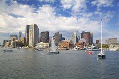 Boston skyline, USA. Boston skyline with Atlantic Ocean on the foreground, USA stock photography