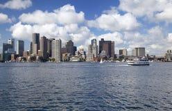 Boston skyline, USA. Boston skyline with Atlantic Ocean on the foreground, USA royalty free stock photos