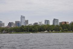 Boston Skyline view from Charles river in Boston Massachusettes State of USA. On 30th June 2017 stock photos