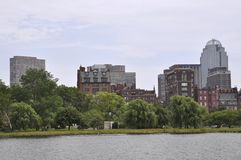 Boston Skyline view from Charles river in Boston Massachusettes State of USA royalty free stock photography