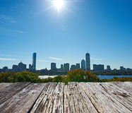 Boston skyline. View with sun backlight from Cambridge at Massachusetts, USA royalty free stock photo