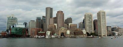 Boston skyline. Viewed from the harbor stock photos