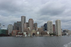 Boston skyline. Viewed from the harbor royalty free stock images