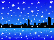 Boston skyline in winter Royalty Free Stock Photography