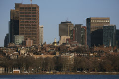 Boston Skyline in winter on half frozen Charles River, Massachusetts, USA Stock Images