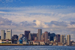 Boston Skyline with Word Trade Center Royalty Free Stock Image
