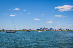 Boston Skyline with yachts in foreground Royalty Free Stock Image