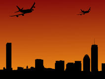 Boston skylines and planes. Boston skylines and two planes arriving illustration Royalty Free Stock Photo