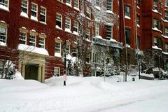 Boston in Snow. Winter snow in Boston, USA Royalty Free Stock Image