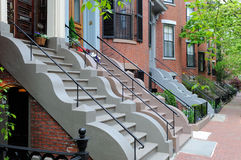 Boston South End. The curvy stone steps of Boston South End brownstones Stock Images