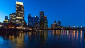 Boston stadshorisont och stads- skyskrapor royaltyfri bild
