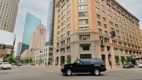 Boston-Stadt-Einspieler-Ecke von Stuart Street stock footage