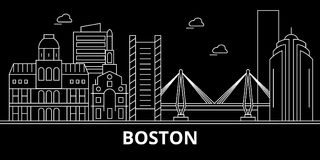 Boston-Stadtschattenbildskyline USA - Boston-Stadtvektorstadt, amerikanische lineare Architektur, Gebäude Boston-Stadt vektor abbildung