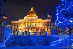 Boston state house illuminated at night stock photo