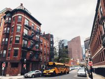 Boston street brick red buildings exterior stock images