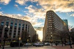 Boston Street Buildings at sunset - Boston, Massachusetts, USA Stock Images