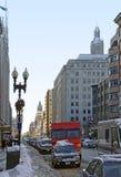 Boston street scenery at winter time Stock Photos