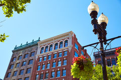 Boston streetlight flowers at Copley Square Stock Photo
