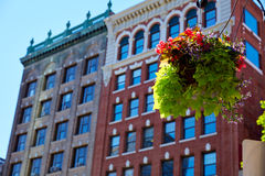 Boston streetlight flowers at Copley Square Royalty Free Stock Photo