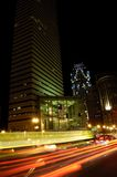 Boston streets at night. Boston financial district at night Royalty Free Stock Photo
