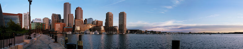 Boston sunrise waterfront panorama Royalty Free Stock Photo