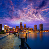 Boston sunset skyline at Fan Pier Massachusetts Royalty Free Stock Photography
