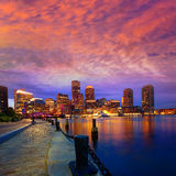 Boston sunset skyline at Fan Pier Massachusetts Stock Photography