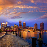 Boston sunset skyline at Fan Pier Massachusetts Stock Images
