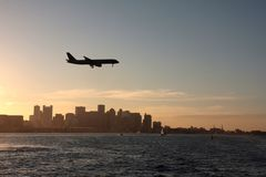 Boston. Sunset view of the Boston skyline and Harbor Islands Royalty Free Stock Photography