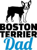Boston terrier dad silhouette. With blue word Royalty Free Stock Images