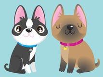 Boston Terrier en Franse Buldog stock illustratie