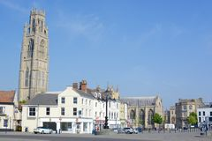 Boston town centre. With St. Botolph church visible, Boston, Lincolnshire, UK stock photography
