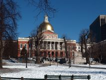 Boston. Townhall view with snow Royalty Free Stock Image