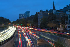 Boston traffic and light trails Stock Images