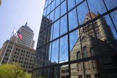 Boston Trinity Church in Copley Square reflected, USA. Boston Trinity Church in Copley Square reflected on skyscraper Stock Photo